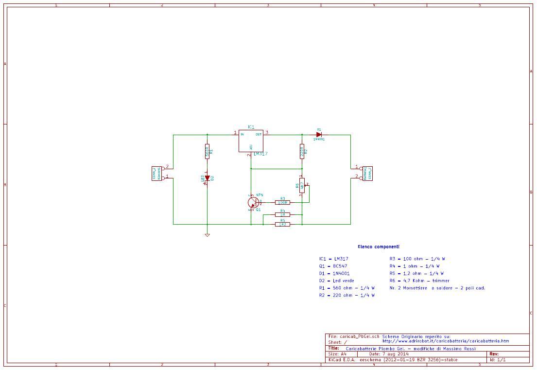 Schema Elettrico Caricabatteria Pannello Solare : Caricabatterie per piombo gel massimo rossi