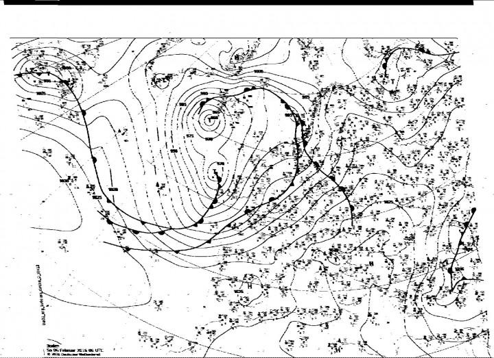 Carta Meteofax - situazione attuale - valida sino alle 00.00 UTC dei oggi 06/02/2016